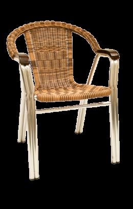 Synthetic Wicker Aluminum Armchair Stackable Outdoor Restaurant Chairs Restaurant Furniture