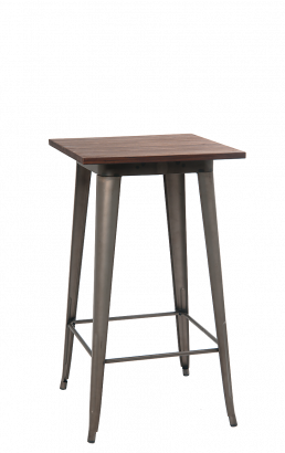 24 39 39 X24 39 39 Elmwood Bartable Top W Gunmetal Color Base Wooden Restaurant Table Tops