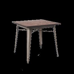 X Elmwood Table Top W Gunmetal Color Leg Base - 4 top restaurant table