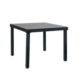 36 X 36 Metal Patio Table In Black Color With Black Imitation Teak Slats Outdoor Restaurant