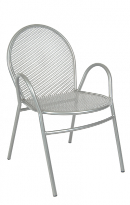 Silver Finish Metal Powder Coated Metal Outdoor Chair