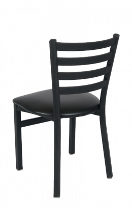 Ladder Back Armless Dining Chair With Vinyl Seat Metal