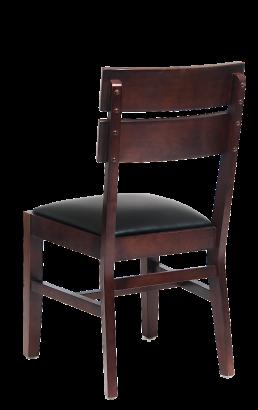Walnut Wood Slats Dining Chair With Black Vinyl Seat Wood Restaurant Chairs Restaurant