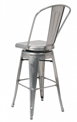 Clear Coat Tolix Style Swivel Metal Barstool Restaurant