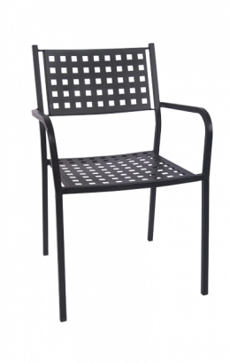 Basket Back Metal Patio Armchair Outdoor Restaurant Chairs Restaurant Furniture A1