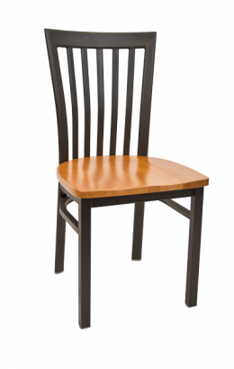 Elongated Vertical Back Metal Chair W Wood Seat