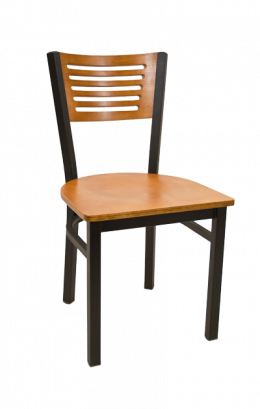 5 Slats Metal Chair W Cherry Back And Veneer Seat Veneer Restaurant Chairs Restaurant