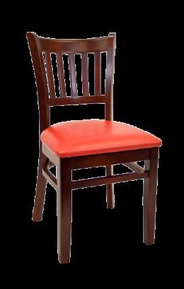 Beechwood Vertical Slat Side Chair W Dark Mahogany Frame And Vinyl Seat Wood Restaurant Chairs