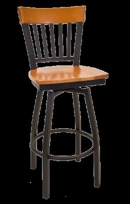 Vertical Slat Back Swivel Metal Barstool W Cherry Back And Wood