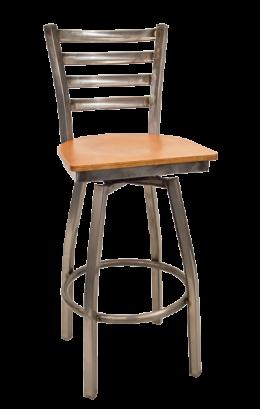 Clear Coated Ladder Back Swivel Barstool W Veneer Seat Commercial
